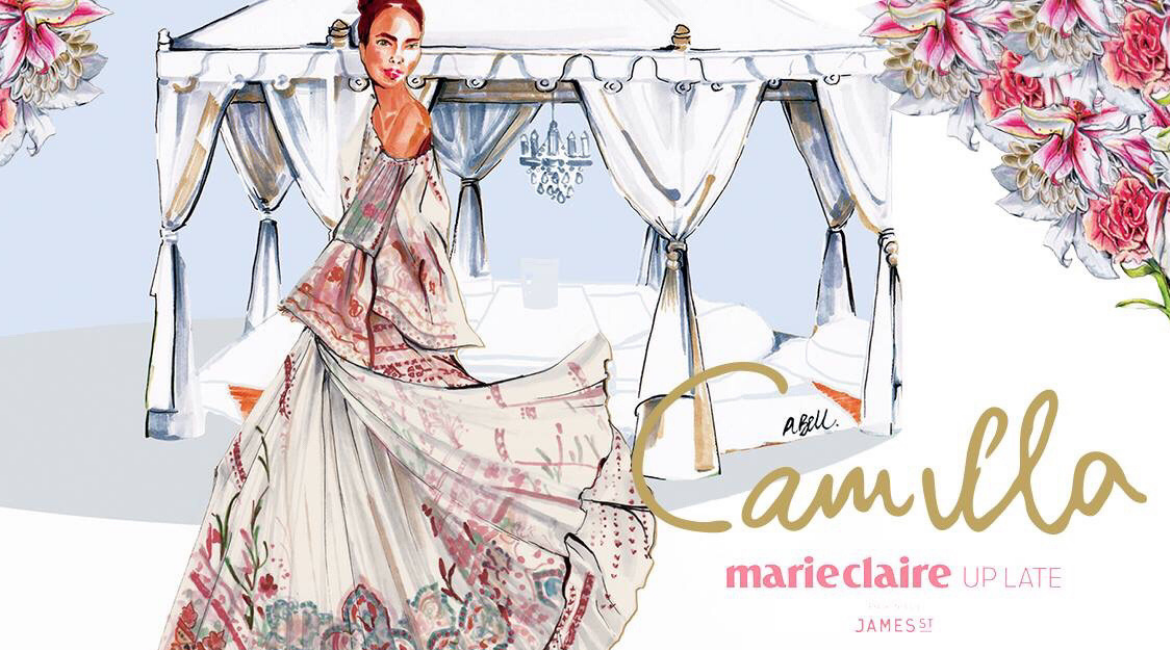 CAMILLA's Marie Claire Up Late campaign Illustration